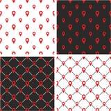 Signez ou emplacement ou Pin Icon Big et petit ensemble de couleur rouge sans couture de modèle Photo libre de droits