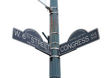 Signez pour la 6èmes rue d'ouest et avenue du congrès dans Austin, le Texas Photographie stock libre de droits