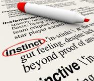 Significado circundado palabra de la definición de diccionario del instinto stock de ilustración