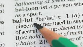 Significado da palavra da cédula no vocabulário, em eleições presidenciais e em democracia, voto video estoque
