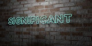 SIGNIFICANT - Glowing Neon Sign on stonework wall - 3D rendered royalty free stock illustration. Can be used for online banner ads and direct mailers Royalty Free Stock Photos