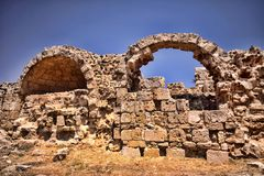 Significant historical ruins of Salamis, northern Cyprus. The Significant historical ruins of Salamis, northern Cyprus Royalty Free Stock Photos