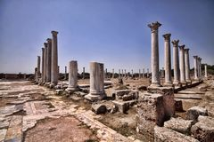 Significant historical ruins of Salamis, northern Cyprus. The Significant historical ruins of Salamis, northern Cyprus Stock Image
