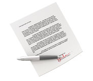 Signin contract. Signed contract document and ballpoint stock illustration