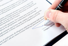 Signing an agreement Stock Image
