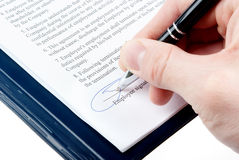 Signing an agreement Royalty Free Stock Image
