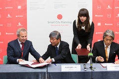 Signing of Agreement of Intent SCP with several private Russian real estate companies Stock Photography