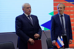 Signing of the agreement on intentions on creation of the Virtual Museum between St. Petersburg and JSC MegaFon Stock Photo