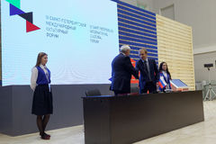 Signing of the agreement on intentions on creation of the Virtual Museum between St. Petersburg and JSC MegaFon Royalty Free Stock Photo