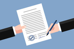 Signing of business agreement. Hand keeping an agreement and hand keeping a pen. Stage of signing an agreement. Business partnership concept Stock Images