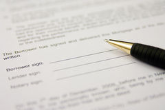 Signing contract. Mortgage contract ready to be signed Stock Images