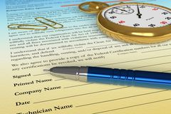 Signing a contract. Pen on contract document with golden stopwatch stock illustration