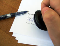 Signing a contract. Or an agreement between partners Royalty Free Stock Photography