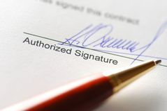 Signing a contract Royalty Free Stock Photo