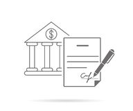 Signing contract. Bank credit contract with signature. Contour icon isolated on white vector illustration