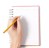 Signing a contract on blank white paper Royalty Free Stock Images