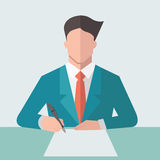 Signing contract. Businessman sign business contract paper. Flat design vector illustration