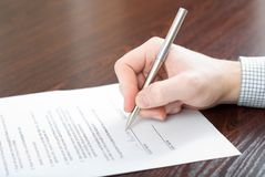 Signing Contract By Businessman Royalty Free Stock Photography