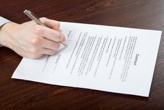 Signing Contract By Businessman Royalty Free Stock Images