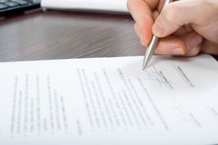 Signing Contract By Businessmen Stock Images