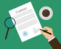 Signing contract, coffe. Signing sign contract paper document. Businessman signs contract on green table with coffee and magnifying glass. Flat illustration for Royalty Free Illustration