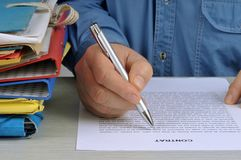 The signing of the contract royalty free stock photo