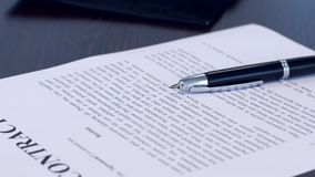 Signing a contract stock footage