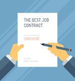 Signing a contract form flat illustration. Flat design style modern vector illustration concept of business person signing employment contract form with the best Stock Image