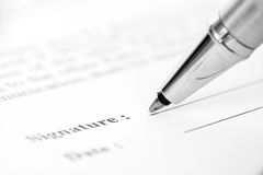 Signing contract form Stock Image