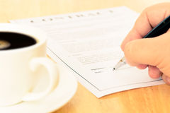 Signing contract form Royalty Free Stock Photo