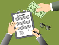 Signing contract with glasses and hand giving banknotes Stock Photo