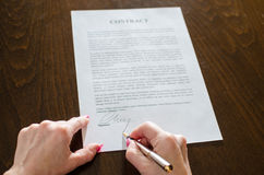 Signing of a contract Stock Photos
