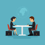 The signing of the contract, illustration in flat style. Royalty Free Stock Photography