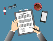 Signing contract with mobile phone, glasses, wristwatch and coff Stock Photo