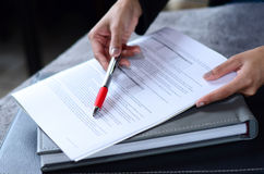 Signing contract. Signing a contract with pen Royalty Free Stock Photography
