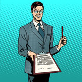 Signing contract signature document. The signing of the contract signature to the document. Business concept the contract agreement deal. Retro style pop art royalty free illustration