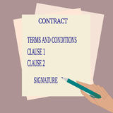 Signing a contract. A contract on the table and a hand ready to sign it royalty free illustration