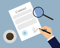 Signing contract on the table. Signing sign contract paper document. Businessman signs contract on blue table with coffee and magnifying glass. Flat illustration Royalty Free Illustration