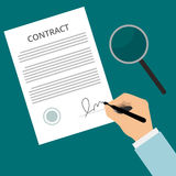 Signing contract. Vector agreement icon - hand signing contract on white paper. Contract Sign Up. Man signs contract. Signed contract on the table with a Vector Illustration