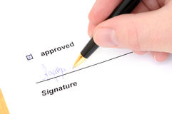 Signing a d document Royalty Free Stock Image