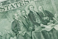 Signing declaration of independence from us two dollar bill macr. O, united states money closeup stock photography