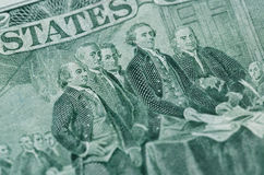 Signing declaration of independence from us two dollar bill macro. United states money closeup royalty free stock images