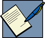 Signing a document. Illustration of a pen writing in a document Royalty Free Stock Photo