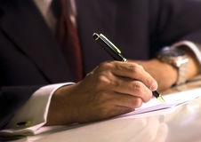 Signing document Royalty Free Stock Photo