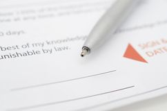 Signing document Stock Photography