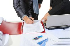 Signing the document partners Royalty Free Stock Photo