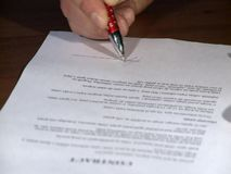 Signing document stock video footage