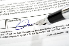 Signing an exemption order Stock Image