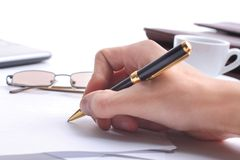 Signing finance contract Stock Images