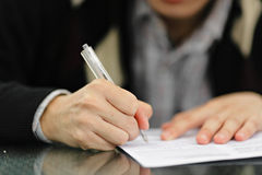 Signing Form Stock Photos